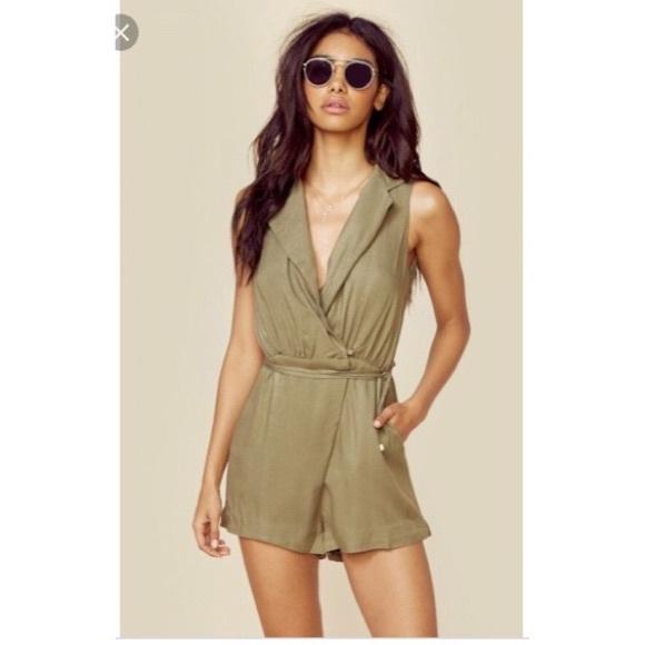 Stylestalker olive khaki Marna short romper small